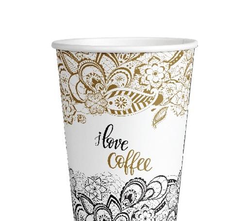 ΠΟΤΗΡΙ ΧΑΡΤΙΝΟ I LOVE COFFEE (GOLD) (8οz) - (50τεμ.)