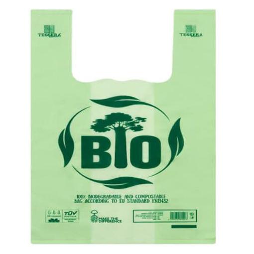 """Τσάντα T-Shirt 30x60cm, """"No More Plastic"""", MATER-BI®"""